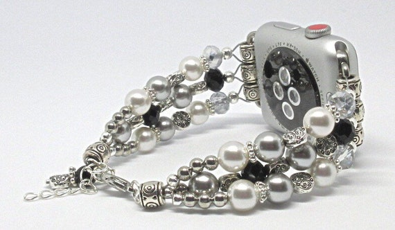 """Silver, White Pearls with Black 7"""" to 8"""", ADJUSTABLE APPLE WATCH Band, Women Bead Bracelet, iWatch Strap, Apple Watch 38mm, 42mm (Custom)"""