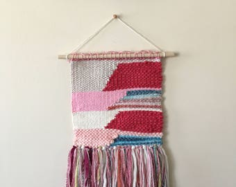 Pink Handmade/Handwoven Wall Weaving, Home Decor, Wall Art, Fiber Art