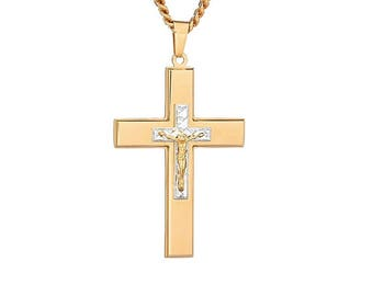 "Gold-Tone Cross with Gold-Tone Diamond Cut Jesus Crucifix Necklace Pendant in Stainless Steel, 18""-24"" Chain"
