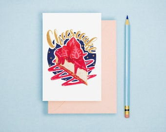 Cheesecake Illustration - Food Illustration, Kitchen Decor, Foodie Postcard, Dessert Art Print, Food Lover GIft, Kitchen Wall Art
