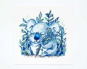 Grumpy Koala Illustration Print - Koala Wall Art, Animal Art Print, Koala Lover Gift, Watercolor Illustration, Nursery Wall Art, Home Decor