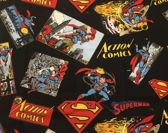 Superman Action  Comics Fabrics Pattern# 3101074 with Action blocks and Shield YARDAGE by Camelot Cottons