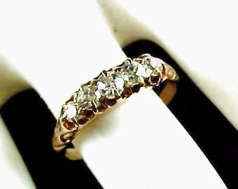 Antique British 18ct. Five Mine Cut Diamond Ring~London 1823