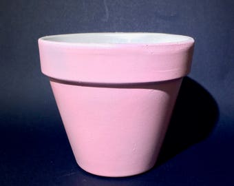 """Hand Painted Terra Cotta 6 Inch Flower Pot   Two Tone: Matte Pink & Pearl White   3"""" Base / 6"""" Top / 5"""" Height   Vibrant Garden / Home Decor"""