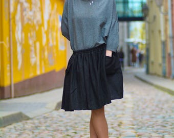Handmade 100% linen skirt with pockets
