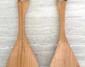 Zebra Salad Serving Utensils/ Vintage Kitchen/ Salad Utensils/ Zebra/ African/ Wood Serving Utensils/ Kitchen Utensils/ Dining/ Hand-carved