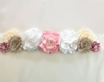 Wedding Sash, Rustic Bridal Sash Belt, Blush Rose Flower Sash, Vintage Lace Floral Bridal Belt, Burlap Bridal Sash, Wedding Dress Belt