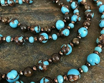 Turquoise and Bronzite Gemstone Necklace (two strands)