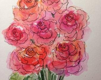 ORIGINAL WATERCOLOR watercolor painting image art roses flowers Watercolour watercolor postcard