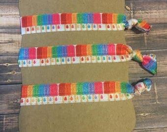 Popsicle Hair Ties Set of 3. Kids Hair Ties. Summer time Hair Ties. Multi colored Hair ties. Rainbow hair ties.