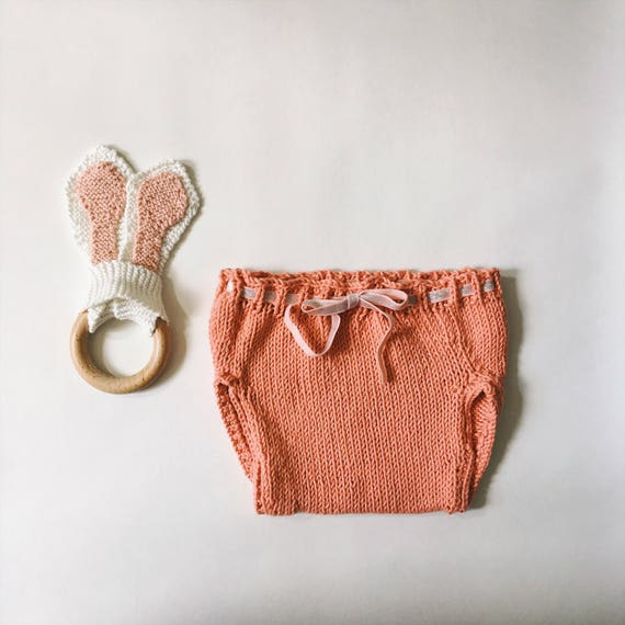 Baby, baby bloomer panties, pink baby bloomers diaper cover CARLOTTA coral, knitting workshop me