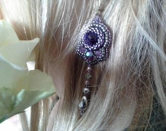 925 silver earings Natural jewelry bridel jewelry party earings embroidered purple  crystal dangle earrings present amethyst earrings