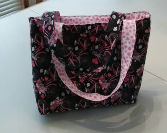 Cute Tote bag for many purposes.  Smaller size in pink on black bicycle print. Great for girls or tweens