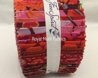 "Free Spirit Kaffe Fassett Classics Lipstick Design Roll /Jelly Roll - 40, 2.5"" Precut Fabric Strips"
