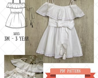 Baby Dress Pattern - Off-the-shoulder Baby Dress PDF - Bohemian dress for baby - Sewing pattern for baby- Alina Baby