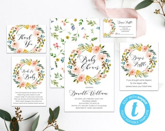 Fall Baby Shower Invitation Blush Floral Printable Invite Set Floral Baby Shower Invitation Boho Baby Shower Invitation Template Editable