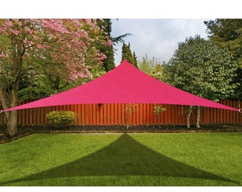 Custom Sized Triangle Waterproof Woven Sun Shade Sail in Vibrant Colors - Burgundy Red