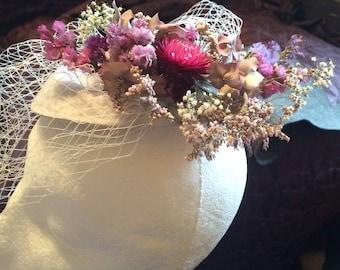 Fascinator Designer's hat, with real flowers, headwear , ladies' hat, dry flowers