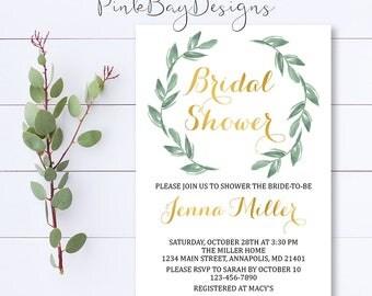 Wreath Bridal Shower Invitation, Green Leaf Shower Invite, Wreath Shower Invite, Bridal Shower Invitation, Green Leaves Shower Invitation