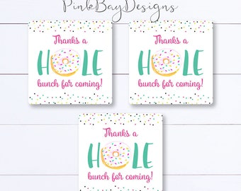 Donut Thank You Tags, Donut Party Favor Tag, Donut Birthday, Instant Download, Donut Party Favors, Donut Party, Thank You Tag