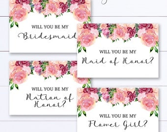 Will You Be My Bridesmaid Printable Card Set, Bridal Proposal, Instant Download, Wedding Card Set, Maid Of Honor Card, Bridesmaid Card