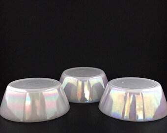 Vintage Federal Glass Moonglow Iridescent Dessert Bowls Set Of 3