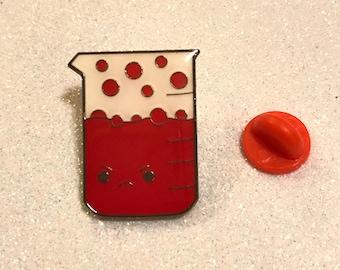 "1"" Angry Beaker Pin - Mental Heath Awareness - Science, Chemistry, Lab, Nerdy"