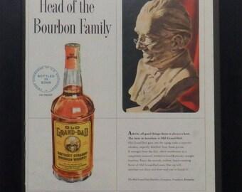 Old Grand-Dad Bourbon, Vintage Alcohol Ad, 1951, Kentucky Bourbon, Man Cave Decor,