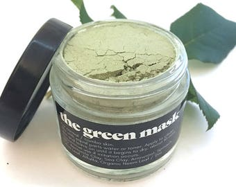 Green Clay Mask - Bentonite Clay - Sea Clay - Spinach Powder - Olive Leaf Powder - Alfalfa Powder - Organic Neem - Face Mask