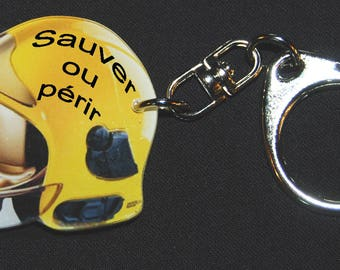 Photo of yellow FIREMAN helmet motto Keychain rescue or die
