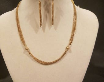Monet necklace and earrings Gold tone set.
