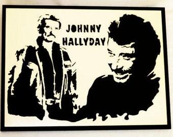 Portrait of Johnny Hallyday on his wooden bike, handmade fretwork, ideal Christmas present