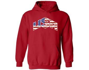 USA Flag Inside Hoodie Sweatshirt Hooded Sweatshirt 4th of July Fourth of July US National Colors Flag