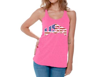 USA Flag Inside Racerback  Racer Back Tank Top 4th of July Fourth of July US National Colors Flag Perfect for Yoga Workout Gym