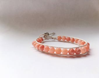 Coral beaded leather bracelet