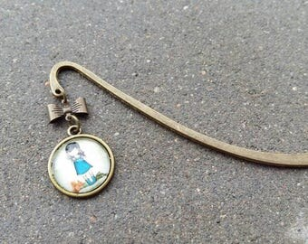 Bookmark bronze and glass cabochon