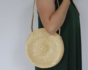 Round straw bag, circle straw bag, beach bag, straw handbag, summer bag, boho handbag.