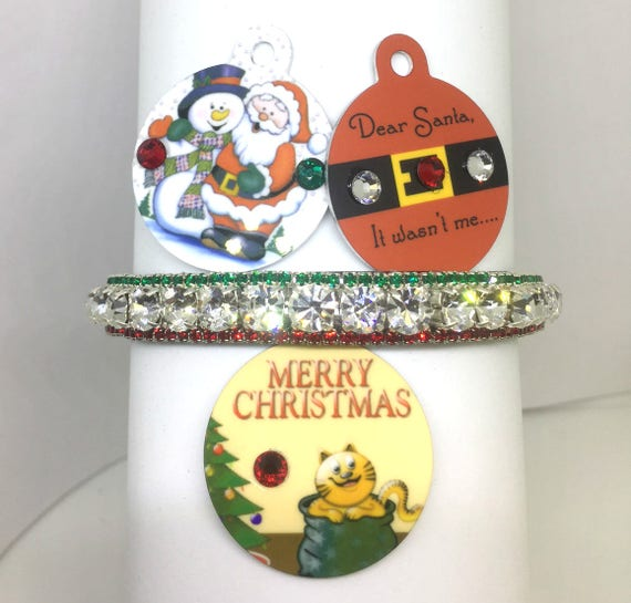 Cutie Pie Pet Collars TM ~Christmas Diamonds~ Red Green  Rhinestone Pet Dog Cat  Collar + Free ID Tag USA