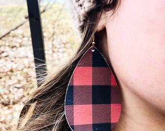 Butfalo Plaid Leather Teardrops- Holiday Earrings -Leather Earrings