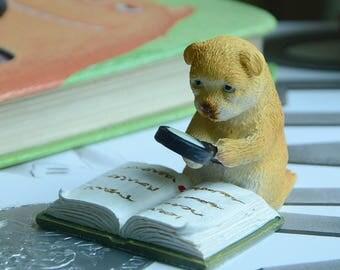 Realistic Fairy Garden Resin Reading Bear