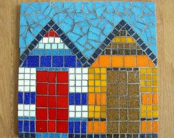 Mosaic beach hut coaster