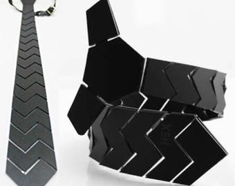Dapper Tie - Black Hex ZigZag Tie ,NeckTie , Neck Tie Modern Geometric Tie Honeycomb  zig zag Hexagon Tie Futuristic Tie Wedding)