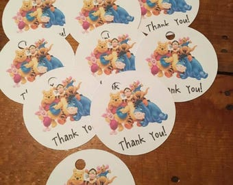 12 Winnie the Pooh Party Favor Thank You Tags (can be personalized)