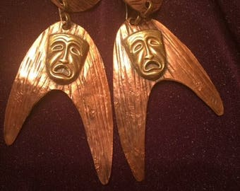 Small Pericles Hammered Copper Earrings With BrassTheater Masks