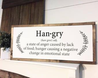 Wonderful Hangry 10X24 | Farm Kitchen Sign | Farmhouse | Kitchen Decor | Wood Signs |  Kitchen
