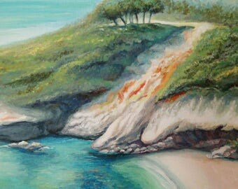 Charming Voidokilia Greece Oil Painting Canvas Art Original Painting Impressionism Painting Impressionism Art Wall Art Seascape Painting Sea