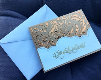 "Foiled Wedding Card ""Congratulations"""