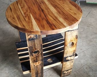 End Table with Whiskey Barrel Stave Legs and Shelf, Hickory Top
