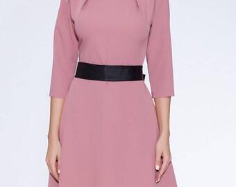 Dusty rose short dress,3\4 sleeve dress with belt,Woman apparel