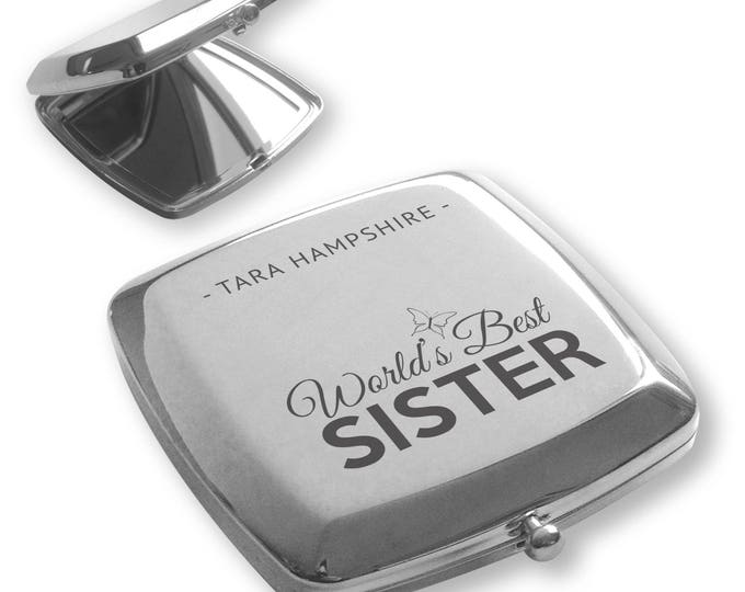 Personalised engraved World's Best SISTER silver plated compact mirror birthday, christmas gift idea - BT6